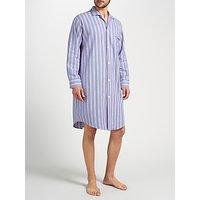 Derek Rose Brushed Cotton Stripe Nightshirt, Purple/Blue/Red