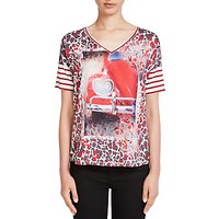 Oui Printed T-Shirt, White/Red