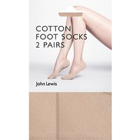 John Lewis 15 Denier Cotton Blend Sock Liners, Pack of 2, Nude
