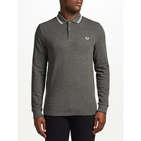 Fred Perry Long Sleeve Twin Tipped Polo Top, Graphite Marl