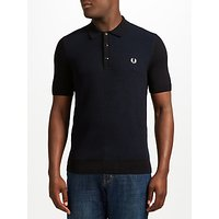 Fred Perry Textured Knit Polo Shirt, Black/Navy