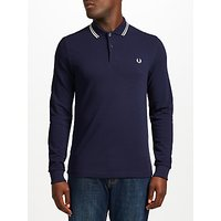 Fred Perry Long Sleeve Twin Tipped Polo Shirt, Blue Granite