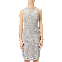 Adrianna Papell Beaded Illusion Cocktail Dress, Blue Heather/Nude