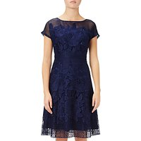 Adrianna Papell Cap Sleeve Fit And Flare Lace Dress, Blue Sapphire