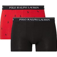 Polo Ralph Lauren All Over Print Trunks, Pack of 2, Red/Black