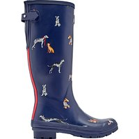 Joules Dog Printed Adjustable Waterproof Wellington Boots, Navy