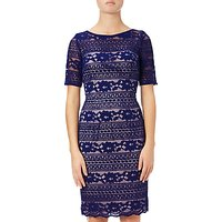 Adrianna Papell Petite Corded Stripe Lace Dress, Neptune