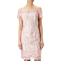 Adrianna Papell Off Shoulder Lace Dress, Coral/Multi