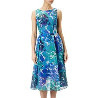 Adrianna Papell Sleeveless Ribbed Organza Floral Midi Dress, Blue/Multi