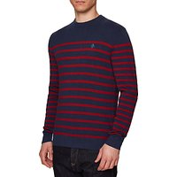 Original Penguin Supima Breton Stripe Jumper, Dark Sapphire Heather