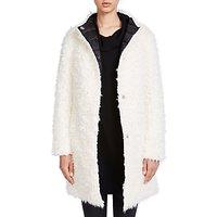 Oui Faux Fur Reversible Coat, White/Black