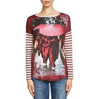 Oui Printed Woven And Jersey Top, Light Grey/Red