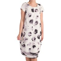 Chesca Stripe Border Spot Dress, White/Lilac
