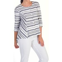 Chesca Stripe Jersey Cardigan, White/Grey