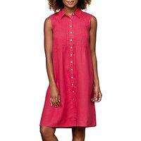 East Linen Pintuck Sleeveless Dress, Magenta