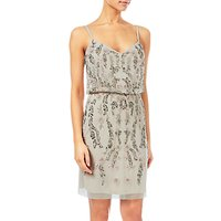 Adrianna Papell Floral Bead Short Blouson Dress, Ivory
