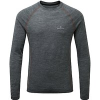 Ronhill Infinity Merino Blend Long Sleeve Running Top, Grey/Orange