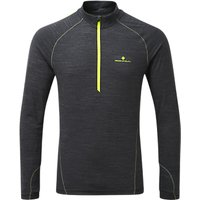Ronhill Stride Thermal 1/2 Zip Long Sleeve Running Top, Charcoal