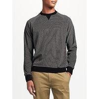 Kin by John Lewis Velour Stripe Sweatshirt, Black/Grey