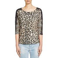 Oui Leopard Print Lace Jersey Top, Black/Camel