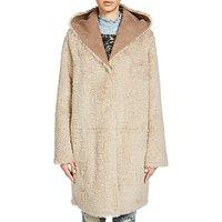Oui Reversible Faux Fur Coat, Camel