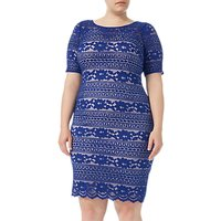 Adrianna Papell Plus Size Corded Lace Shift Dress, Neptune