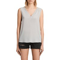 AllSaints Arla Silk Top, Storm Grey