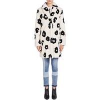 Oui Faux Fur Printed Coat, Cream/Black