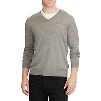 Polo Ralph Lauren V-Neckline Knit Jumper, Metallic Grey Heather