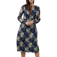 Sugarhill Boutique Noor Tie Neck Floral Midi Dress, Blue/Multi