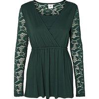 Mamalicious Didde Tess Lace Jersey Top, Green