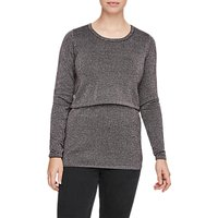 Mamalicious Mllula June Long Sleeve Maternity Nursing Blouse, Grey