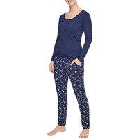 Mamalicious Star Print Lia Organic Cotton Maternity Nursing Pyjamas, Blue
