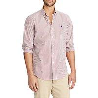 Polo Ralph Lauren Button Down Pin Point Collar Striped Shirt, Burgundy/White