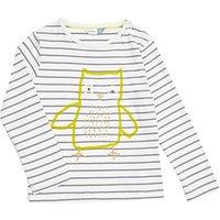John Lewis Baby Stripe Owl GOTS Organic Cotton Top, White/Grey