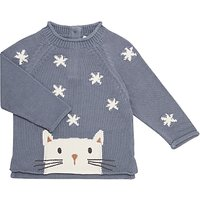 John Lewis Baby Cat Intarsia GOTS Organic Cotton Jumper, Grey