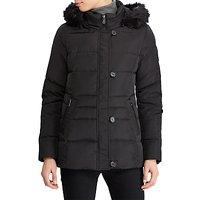Lauren Ralph Lauren Faux Fur Trim Hooded Jacket, Black