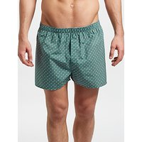 Sunspel Woven Cotton Spot Boxers, Teal