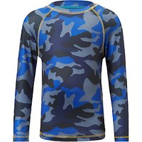 John Lewis & Partners Boys' Camouflage Print Athleisure Top, Blue