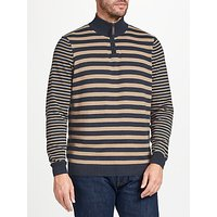 John Lewis Cotton Cashmere Stripe Zip Neck Jumper