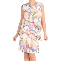 Chesca Print Layered Chiffon Dress, Multi