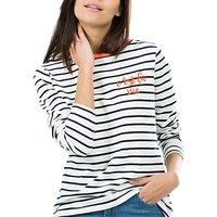 Sugarhill Boutique Cest La Vie Embroidered Top, Off White/Navy