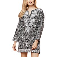 East Chikan Paisley Print Kura Top, Black