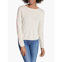 Cocoa Cashmere Crew Neck Heart Sleeve Jumper, Oatmeal/Peach