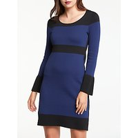 Max Studio Frill Sleeve Striped Knitted Dress, Black/Blue