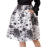 Closet Floral Pleated Skirt, Black/White
