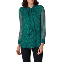 L.K. Bennett Rudy Printed Silk Blouse, Green