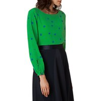 L.K. Bennett Teka Silk Printed Top, Green