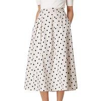 L.K. Bennett Octavia Printed Skirt, White