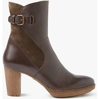 John Lewis Pinky Block Heeled Ankle Boots, Brown Leather